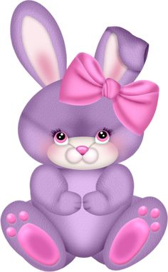 Purple Bunny with Pink Bow Clipart