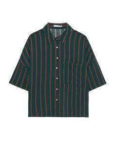 Camisa manga corta rayas - Blusas y camisas - Ropa - Mujer - PULL&BEAR España