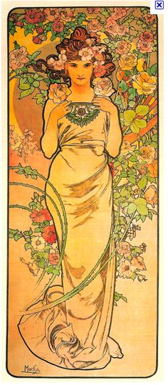 I love love love Mucha, anf I think this would be a really cool idea for a half-sleeve.