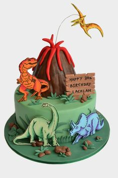 https://flic.kr/p/a59c3u   Lachlan's Dinosaur Cake   Made for my son's birthday back in March. I showed him all the wonderful Dinosaur cakes online and he picked what he wanted. Thanks to jaklotz1 and Elizabeth Norton for the inspiration! cakecentral.com//gallery/1211008 www.flickr.com/photos/elizabethnorton/108900986/ I really wanted to do a big 3d dinosaur shaped cake, but alas, my son didn't like them :( Bottom cake is an 8 inch chocolate mudcake. Volcano is a mudcake made in a Dolly ...