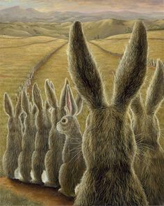 The March Hare would be glad when his interview for Wonderland was over.....Art of Robert Bissell
