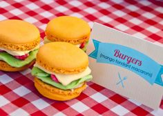 I Will Invitations BBQ Bonanza party - burger macarons! Cute for an outdoor/ casual bbq or party