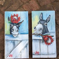 Adorable, only w/ a cow! Cow Painting, Pallet Painting, Pallet Art, Painting & Drawing, Easy Paintings, Animal Paintings, Donkey Drawing, Cute Donkey, Horse Art