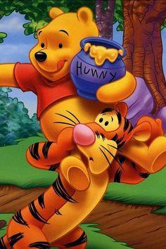 Winnie-the-Pooh & Tigger - Happy Monday Tigger And Pooh, Cute Winnie The Pooh, Winne The Pooh, Winnie The Pooh Quotes, Pooh Bear, Eeyore, Cartoon Wallpaper, Disney Wallpaper, Cute Disney