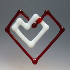 DoubleHeart Fused Glass Ornament Suncatcher Red with by TheWoCo, $15.00