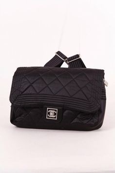 """CHANEL Black Nylon Quilted Flap """"CC"""" Turnlock Backpack – Luxury Garage Sale"""