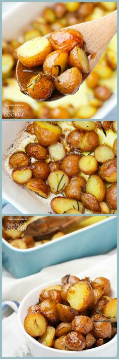 These golden roasted potatoes make the perfect Thanksgiving side dish. These potatoes are perfectly seasoned with rosemary and garlic!