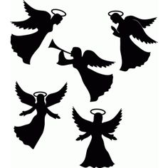 Silhouette Design Store: Angel With Trumpet Silhouette Design, Engel Silhouette, Silhouette Cameo, Nativity Silhouette, Christmas Nativity, Christmas Angels, Christmas Art, Christmas Projects, Christmas Decorations