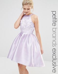 Chi Chi Petite | Chi Chi London Petite Halterneck Applique Mini Prom Dress With Full Skirt at ASOS