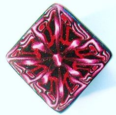 Polymer Clay BIG Cane  2 X 1 Red Pearlized Clay  Black by Norrine