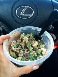 Paleo on the go! - 1 can tuna, 1 avocado, 2 hard boiled eggs, cherry tomatoes, microgreens & dijon mustard
