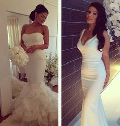 Left side is a mermaid gown with a sweetheart neckline. Right side is a fitted sating scoop neck wedding dress. Love these! Especially the one on the right!