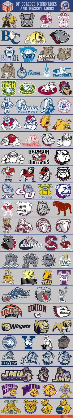 The Best of College Nicknames and Mascots logos College Football Logos, Sports Team Logos, College Sport, Sports Decals, Sports Art, Bulldog Mascot, Great Logos, Marketing, Logo Inspiration