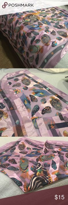 Scarf - lilac with fish & shells. Silky, 100% polyester Scarf, Lilac striped with colorful fish & shells. Beautiful scarf Accessories Scarves & Wraps