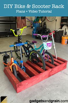 DIY Bike & Scooter Rack: A Great First Step in Garage Organization – Gadgets a. DIY Bike & Scooter Rack: A Great First Step in Garage Organization – Gadgets and Grain Garage Organization Tips, Diy Garage Storage, Garage Tools, Garage Workshop, Garage Velo, Scooter Garage, Bike Racks For Garage, Scooter Scooter, Car Garage