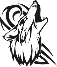 Tribal Howling Wolf Head White On Black At Voottoo Pictures