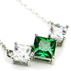 CZ-Vee Necklace, Emerald-Colored CZs, 18″ « Holiday Adds