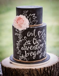 The Diamond Baker - Rustic blackboard wedding cake with beautiful peony flower Photo courtesy of Robin Goodlad