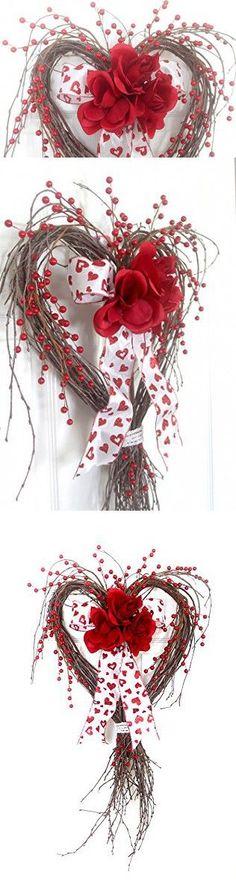 Valentine Heart Red Rose Wreath for front door, Valentine Heart, Valentine Decoration, Spring Wreath, Winter Wreath, Wedding Wreath, wreathe