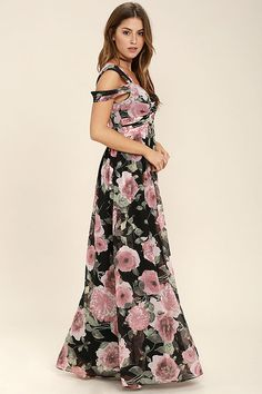 Lulus Exclusive! Romance is on the rise now that the Give Me Amore Black and Pink Floral Print Maxi Dress is in your life! Pink, cream, and green floral print woven chiffon forms two sets of sheer straps that support a lightly padded bodice, with a sweetheart neckline. A pleated empire waist flows into a sweeping maxi skirt. Hidden back zipper/hook clasp.