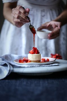 White Chocolate and Strawberry Mini Cheesecakes with Blood Orange Syrup