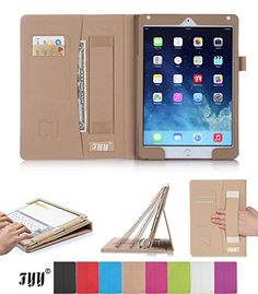 [Luxurious Protection] iPad Air 2 Case FYY Premium PU Leather Case Smart Auto Wake/Sleep Cover with Velcro Hand Strap Card Slots Pocket for iPad Air 2 Khaki