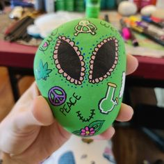 Groovy 420 alien 👽💚 $15 + shipping and handling Painted Rocks For Sale, Hand Painted Rocks, Carnival, Painting, Carnavals, Painting Art, Paintings, Painted Canvas, Drawings