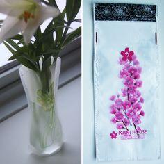 Foldbar vase, Pink orkideer, 10,-