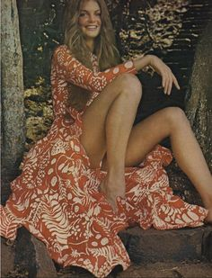 """vogue 1970"" -- just for perspective, compare this 40+ year old image of a woman to almost any similar image today. This woman has strong, powerful, beautiful legs, and ankles with a greater circumference than the thighs of today's ""beauties."" A few years ago, I read a study of middle-school girls who described Marilyn Monroe with words like ""fat"" and ""cow."" What say you??"