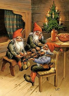This Pin was discovered by DF FD. Discover (and save!) your own Pins on… Illustration Noel, Christmas Illustration, Illustrations, Swedish Christmas, Christmas Gnome, Scandinavian Christmas, Vintage Christmas Cards, Christmas Pictures, Trolls