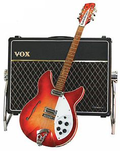 """Nothing says """"the sixties"""" like a Rickenbacker electric guitar. After late when George Harrison of the Beatles received his first, rock n' roll would never be the Beatles Guitar, Music Guitar, Guitar Amp, Cool Guitar, Playing Guitar, Acoustic Guitar, Pinup, Bass Guitar Case, Rickenbacker Guitar"""