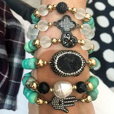 Set By Vila Veloni King Black Stone And Mallorca Pearl With Turquoise Pellets