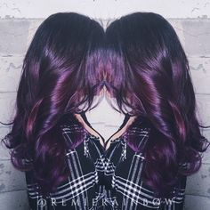 Mixed berries: plum violet wild orchid purple hair colormelt and long layers.