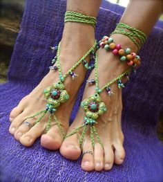 PISTACHIO BAREFOOT sandals green crochet beaded foot by GPyoga, $64.00