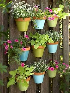 This is AWESOME -- great idea for ALL our fences ... imagine these with succulents in them!     Flower pots on a fence (doesn't explain how pots are attached to fence)