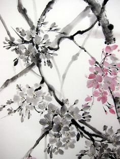 Cherry Blossom Japanese .Ink Painting on Rice Paper by Suibokuga