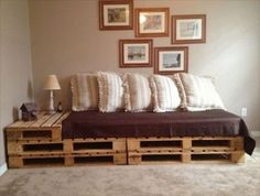 Pallets and a twin bed =easy couch!!