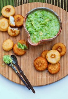Guasacaca sauce  (the venezuelan guacamole) with arepitas .... delicious as snack or appetizer, a Latin Hors d'oeuvre ;)