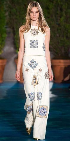 TORY BURCH: Jeweled applique linen burlap dress