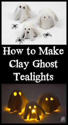 How to Make a Clay Ghost Tealight. These simple tealight clay ghosts are a perfect kids craft for Halloween. These were made by my nine year old and look amazing with a battery operated tealight und(How To Make Clay) Clay Crafts For Kids, Kids Clay, Halloween Crafts For Kids, Halloween Activities, Halloween Projects, Clay Projects For Kids, Diy Projects, Halloween Clay, Halloween Ghosts