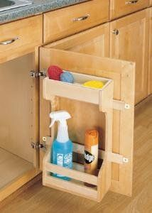"Rev-A-Shelf Sink Base Door Mount Organizer 16-1/2"" wide by Rev-A-Shelf. $46.25. Rev-A-Shelf door mount cleaning supply rack features a polymer tray on the top shelf that can be removed for easy cleaning"