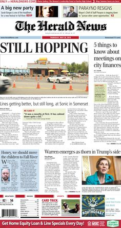 The front page of The Herald News for Thursday, May 26, 2016.