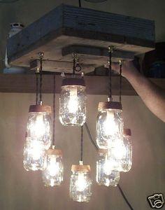 Mason Jar Chandelier 8 Light Barnwood Reclaimed Wood Ceiling Box