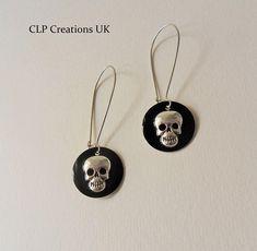 SKULL EARRINGS, Biker earrings, Gothic earrings, Rockabilly earrings, Festival earrings, Black enamel earrings, Handmade gift, Unique gift