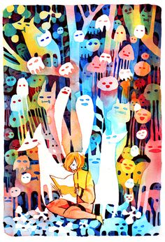 Colorful and cool watercolor painting by koyamori on Deviantart. Check out her online shop for more amazing stuff: http://koyamori.tictail.com/products