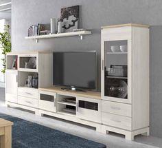 #Libreria de pino estilo moderno en color blanco decapado con patas, mueble lineal de fabricacion española online, visitanos en: http://www.rusticocolonial.es/