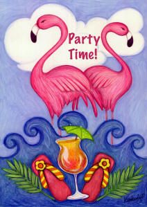 Get Your Pink On Party Flamingos decorative house flag - flagsrus