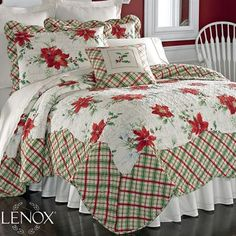 Lenox Winter Wishes Holiday Full Queen Quilt Christmas Table Linen, Christmas Bedding, Christmas Interiors, Lenox Christmas, Christmas Bows, Christmas Decorations, Merry Christmas, Quilt Bedding, Bedding Sets