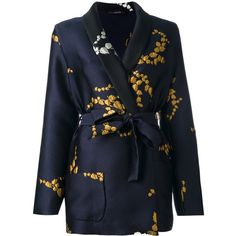 Odeeh floral embroidery fitted jacket (€1.400) ❤ liked on Polyvore featuring outerwear, jackets, blue, fitted jacket, blue floral jacket, floral jacket, blue jackets and print jacket