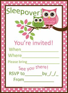 sleepover invitations for girls | cute+pink+owls+sleepover+invitation+for+girls.jpg